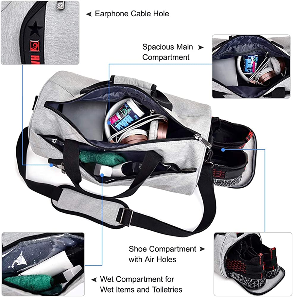 Lixada Sports Gym Bag with Separate Wet Pocket and Shoes Compartment Travel Duffel Bag Weekender Bag Handbag for Men and Women