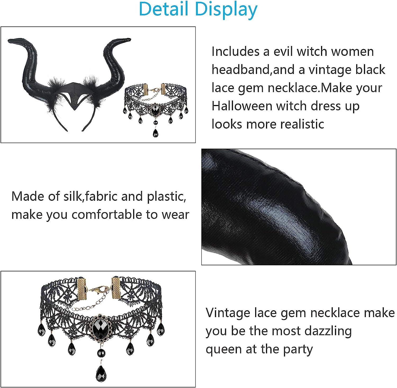 Cuernos de Diablo Ajustables y Collar de Encaje con Piedras Preciosas Reina Malvada y Collar de Encaje G/ótico Accesorios de Cosplay para Fiesta de Lema de Mascarada BIGKASI Diadema de Cuerno Negro