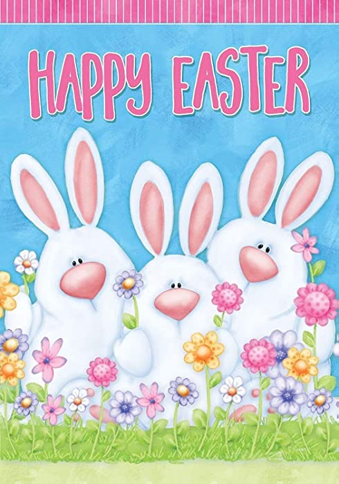 """Dtzzou Happy Easter Bunny Garden Flag 12"""" x 18"""" Outdoor & Indoor Decorative Cute Rabbit Double Sided Flag for Spring Easter Decoration"""
