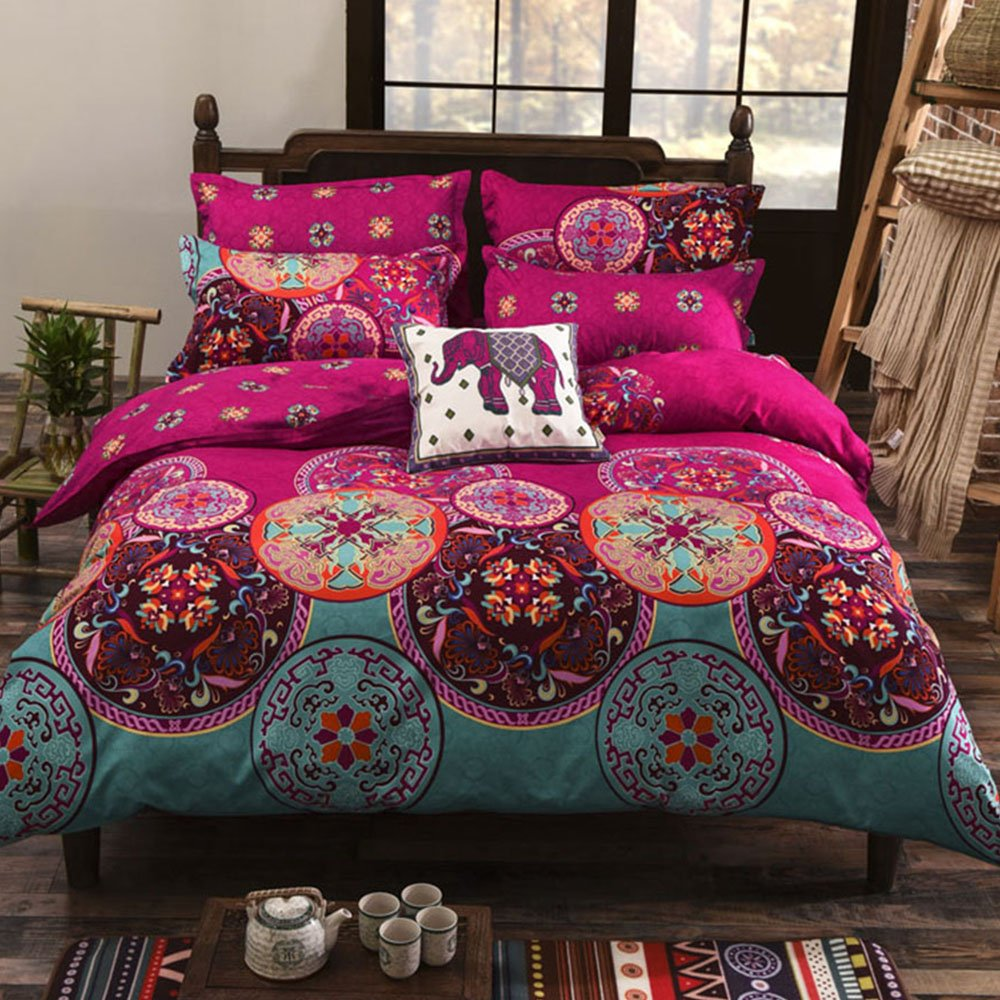 Bohemian Duvet Cover Set Double Size Duvet Cover Sets Polyester Microfiber Bohemia Exotic Patterns Design Bedding Sets (Double) skyblue-uk