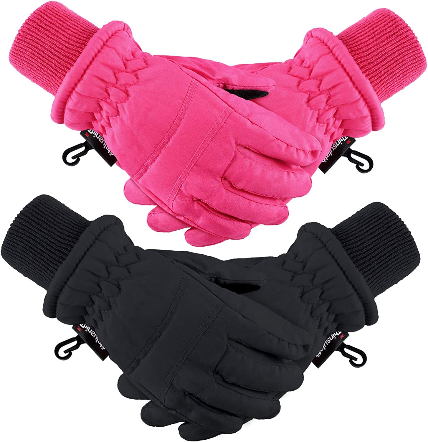 2 Pairs Kids Winter Ski Gloves Waterproof Warm Snow Mittens...
