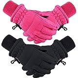 Boao 2 Pieces Kids Winter Ski Gloves Waterproof Warm Snow Gloves for Children 1-3 Years Outdoor Activities Supplies