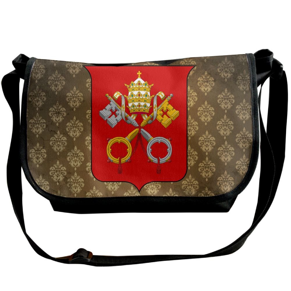 Lov6eoorheeb Unisex Coat Of Arms Of Vatican City Wide Diagonal Shoulder Bag Adjustable Shoulder Tote Bag Single Shoulder Backpack For Work,School,Daily
