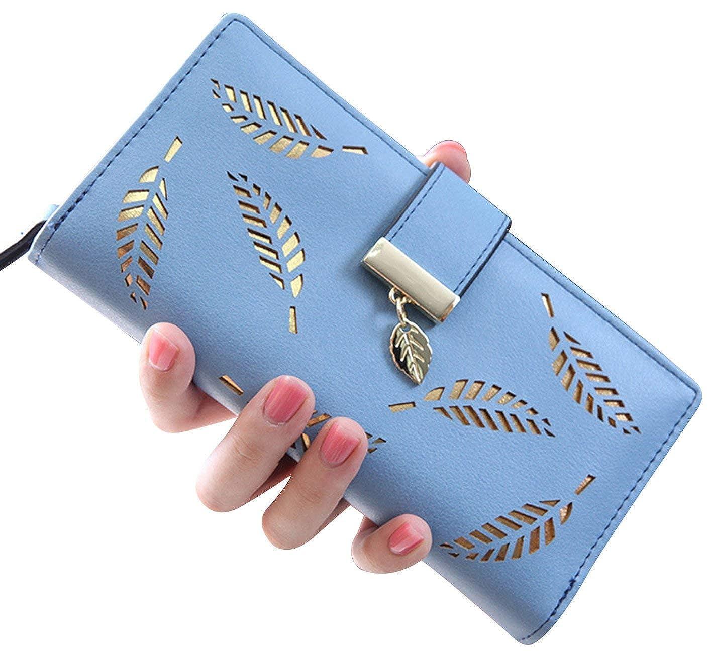 Damen weibliche Portemonnaie Hohle Goldblatt Geldbeutel Große Kapazität Wallet Honeststar HS-LadyLeafwallet-Blue