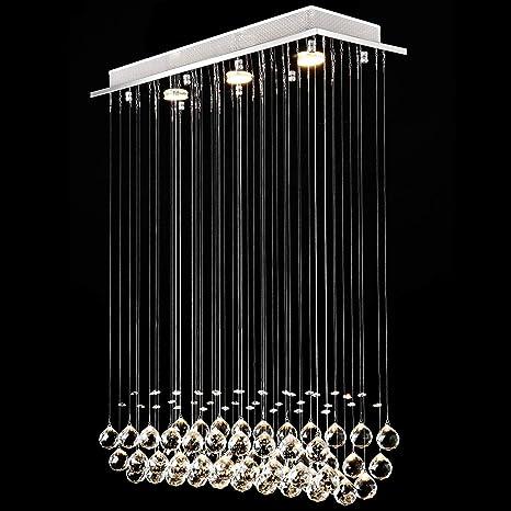Lightess LED Deckenleuchte Kristall Hängend Kronleuchter Modern  Pendelleuchte Rain Drop Beleuchtung mit 3 Leuchten Kristallkugel für Küche  Flur ...