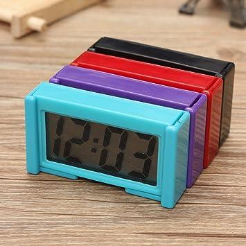 Mini Pantalla Reloj Digital LCD Salpicadero para Coche Tiempo Escritorio 1Piezas(Color Aleatorio)