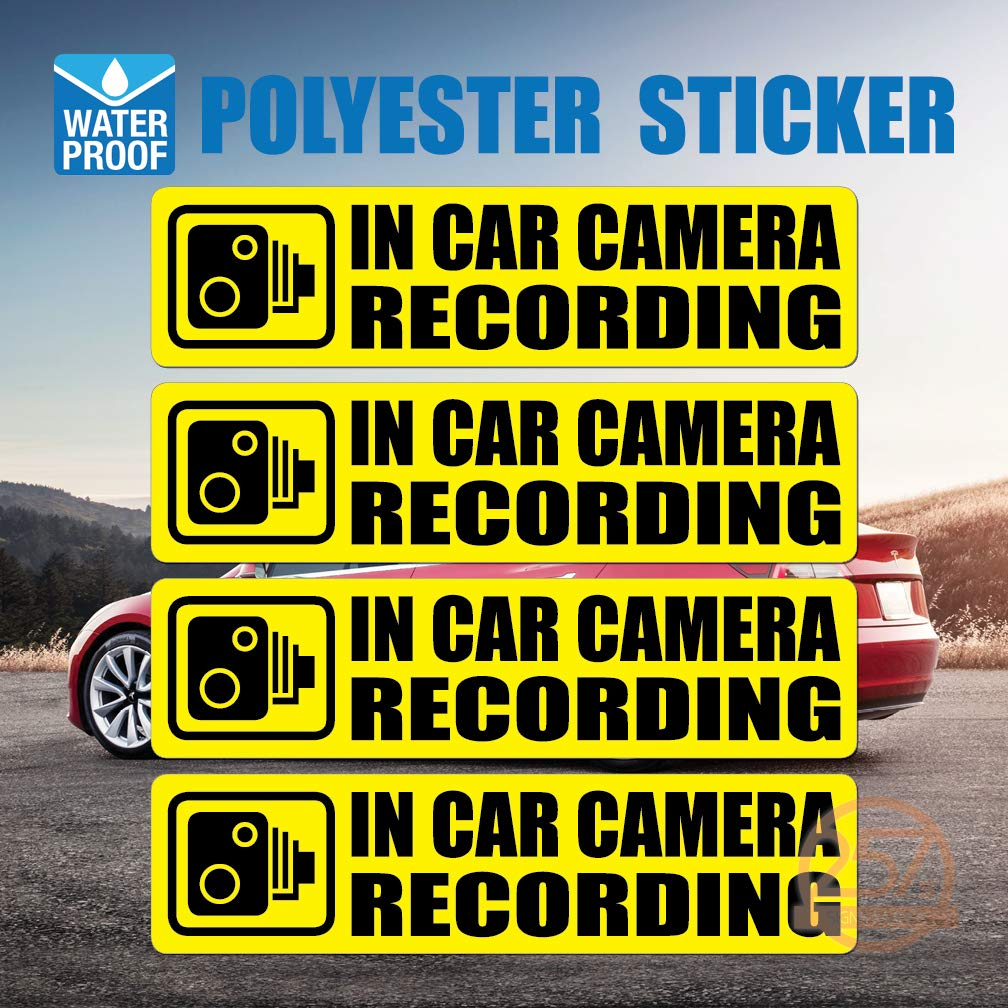 (Pack of 4 pcs) in Car Camera Recording Sticker Dash Cam on Board Video Label Bumper Baby Safe Decal [Yellow]