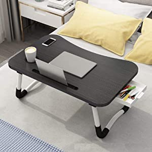 Laptop Desk, Bed Table Tray with Tablet Slot and Cup Holder, Folding Lap Desk Table with Storage Drawer, Working from Home, Homework Student Table, Notebook Stand Reading Holder for Bed/Sofa/Floor