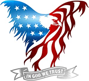 "Precision Metal Art American Eagle Steel Laser Cut Wall Art with in God We Trust Banner 18""/American Eagle"