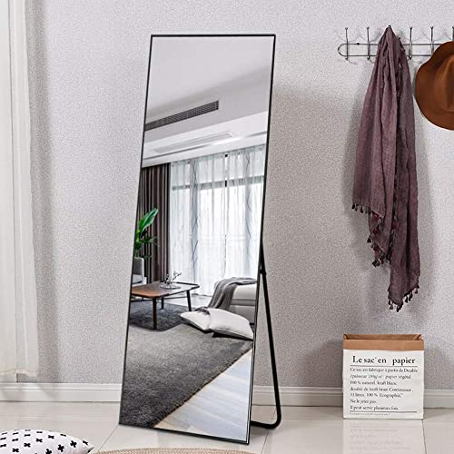 ElevensMirror Full Length Mirror Dressing Mirror with Standing Holder 65 x22 Large Rectangle Bedroom Floor Mirror Wall-Mounted Mirror Hanging Leaning Against Wall Black