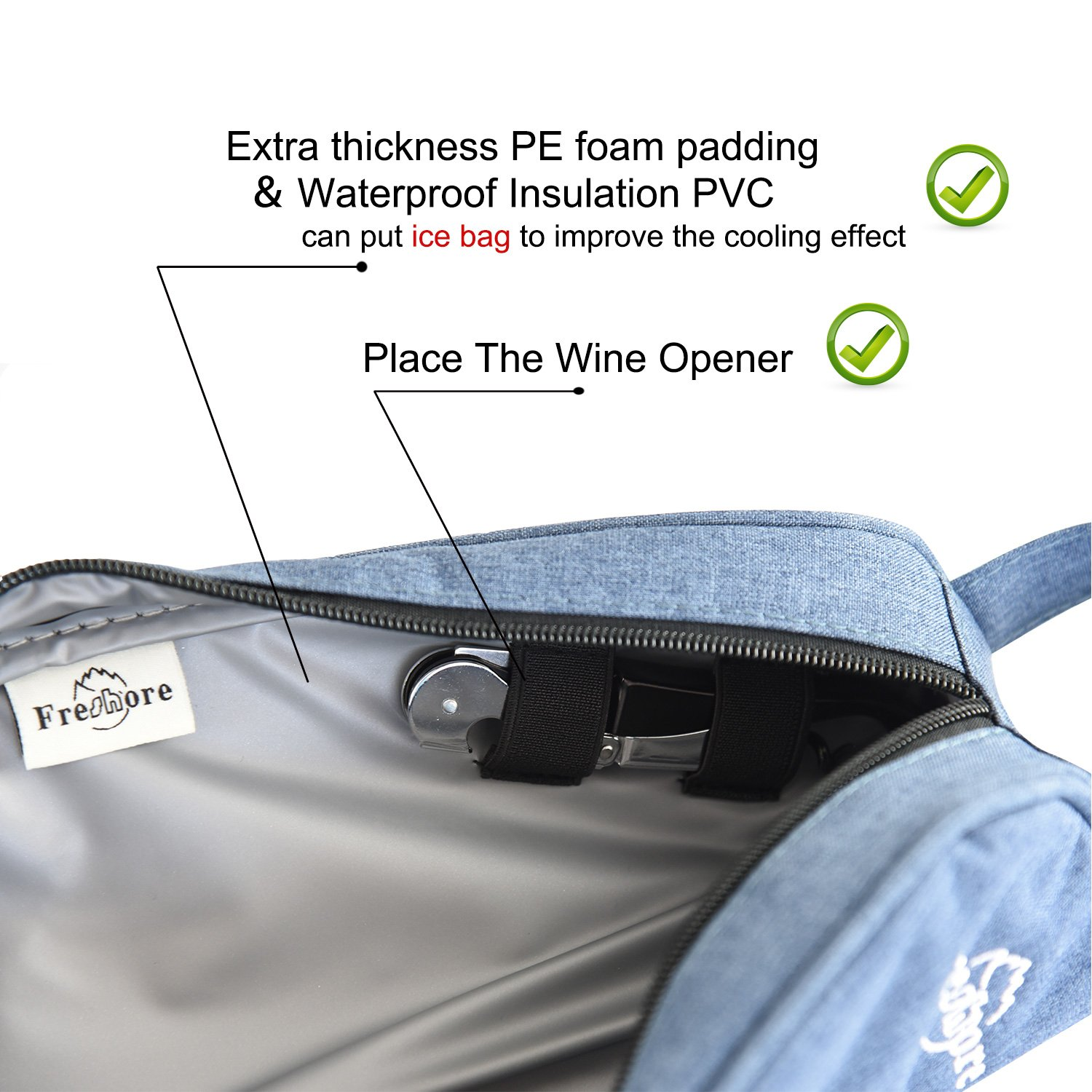 Freshore Insulated Single Wine Tote Bag Carriers For Cooler Restaurant As Gift - Firmly Store Corkscrew (Gray Blue) by Freshore (Image #4)