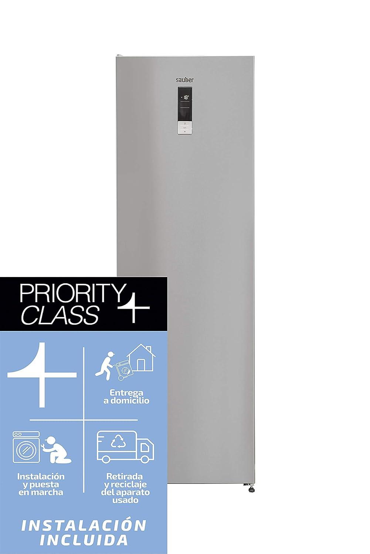 Sauber - Congelador vertical SCV186I Tecnología NOFROST - Eficiencia energética: A++ - Alto: 185cm - 280 litros - Acero inoxidable
