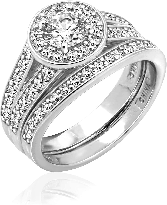 JADMIRE 1.5 ct Swarovski Zirconia Round-Cut Halo Ring Platinum-Plated Sterling Silver