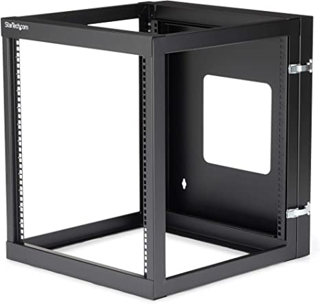 Amazon Com Startech Com 12u Hinged Open Frame Wall Mount Server Rack 4 Post 22 In Depth Network Equipment Rack Cabinet 140 Lbs Capacity Rk1219walloh Black Computers Accessories
