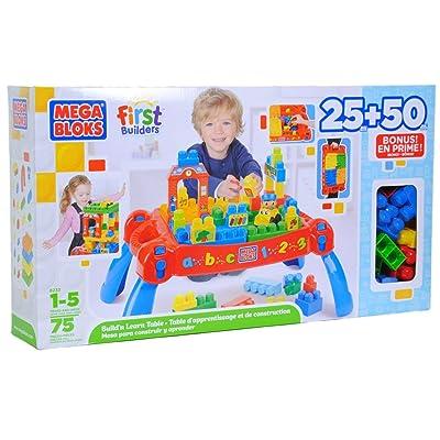 Mega Bloks First Builders Build 'n Learn Table Plus Bonus Play Set: Toys & Games