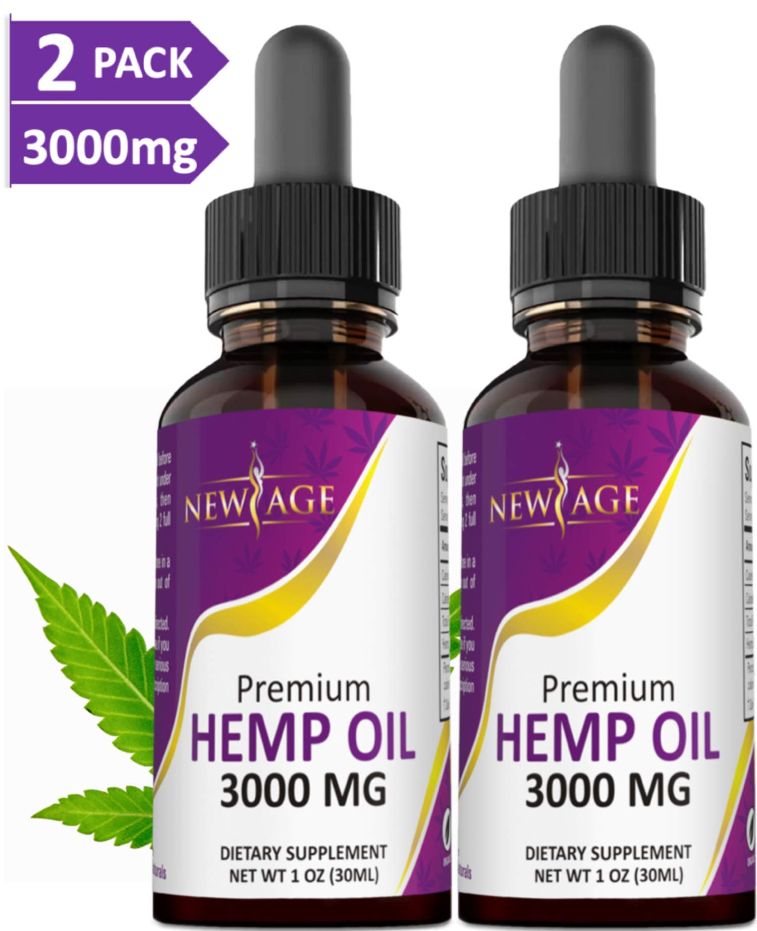 (2-Pack) 3000mg Hemp Oil Extract for Pain & Stress Relief - 3000mg of Pure Hemp Extract - Grown & Made in USA - 100% Natural Hemp Drops - Helps with Sleep, Skin & Hair. by New Age