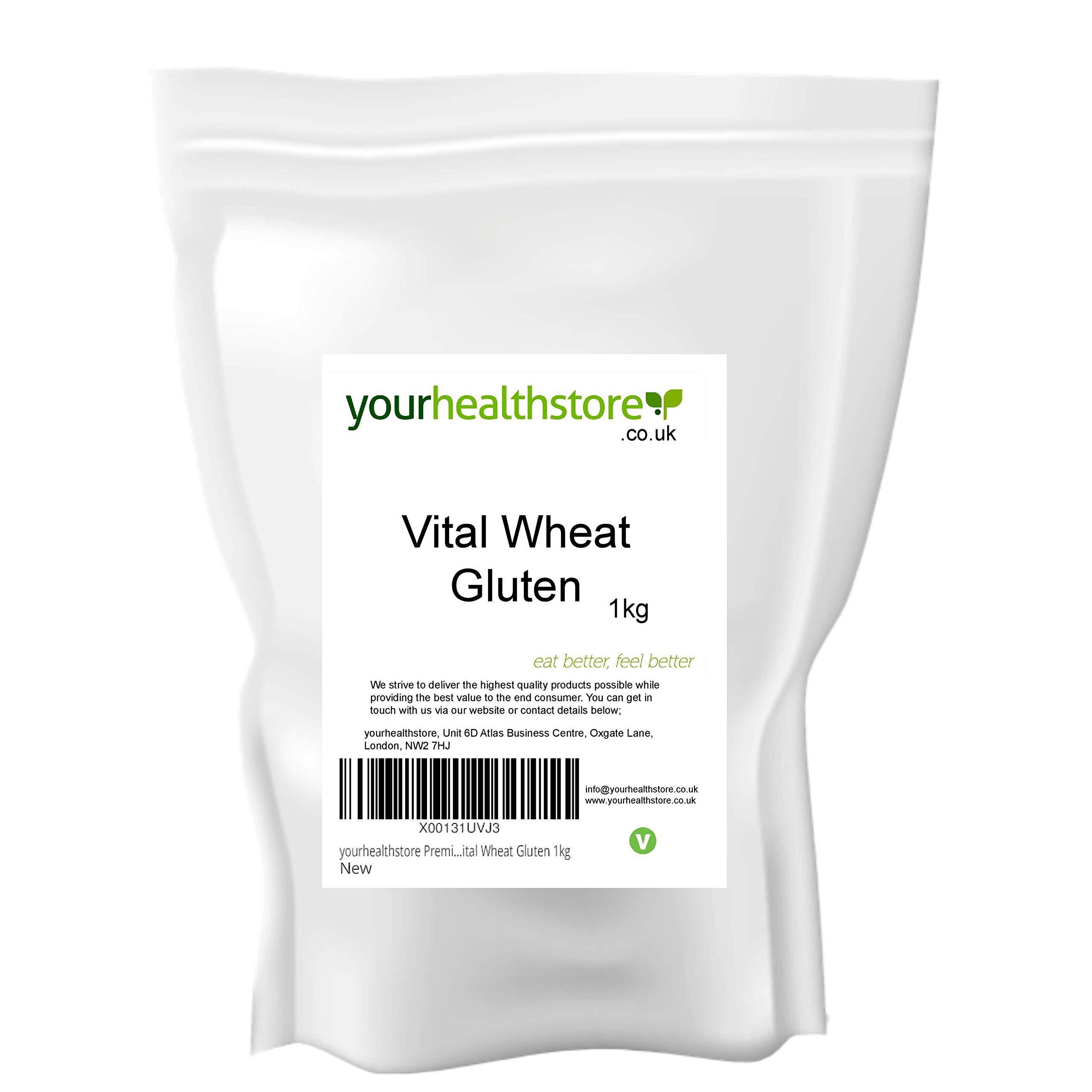 yourhealthstore® Premium Vital Wheat Gluten Flour 1kg, 87.5% Protein, Non GMO, Vegan (Recyclable Pouch)