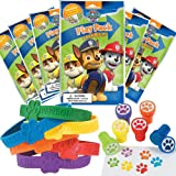 Paw Patrol Party Favor Set - 6 Grab & Go Coloring Book Play Packs, 12 Paw Print Rubber Bracelets, 12 Paw Print Stampers