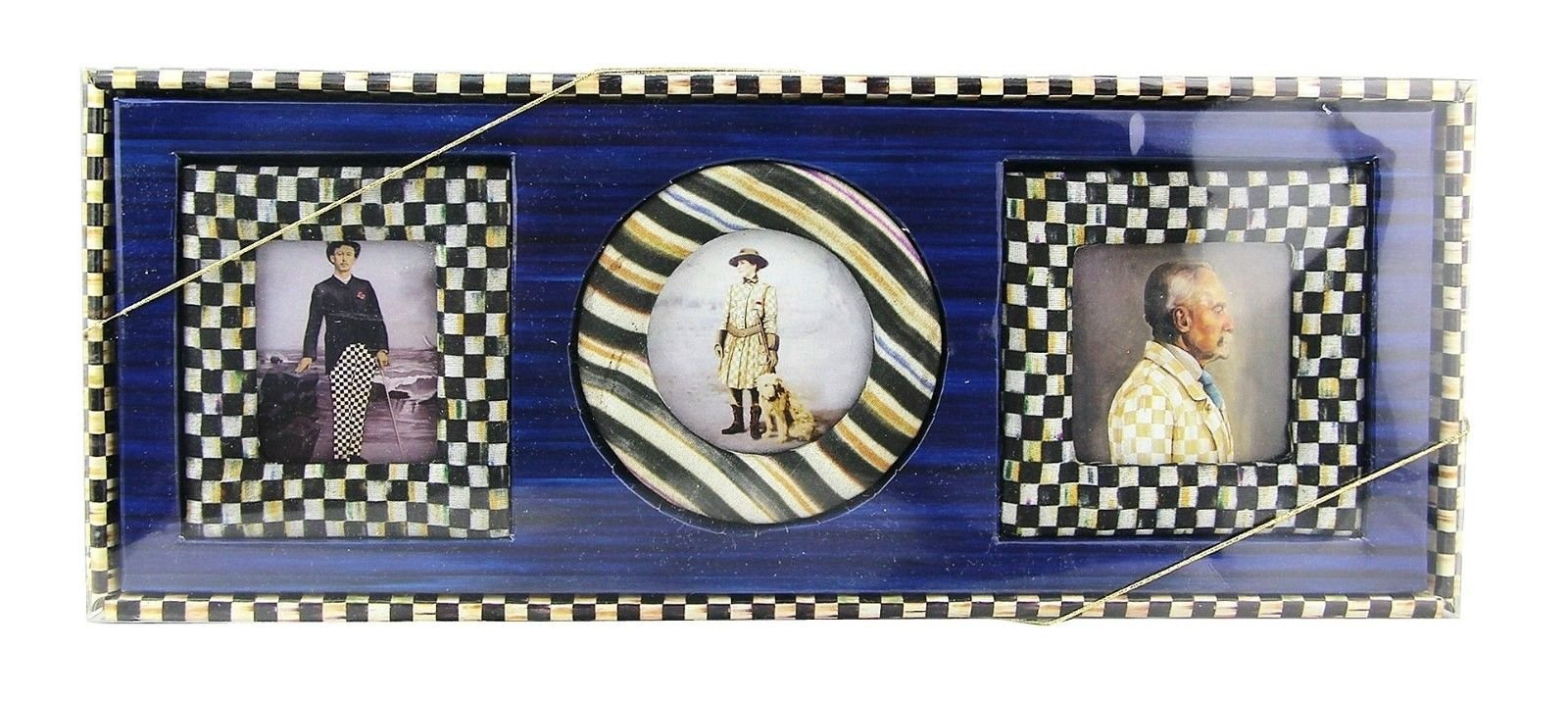 MACKENZIE CHILDS Amazing COURTLY Check 4'' X 4'' Set of 3 (Three) Frames by MacKenzie-Childs