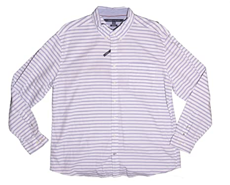 20d69e88 Tommy Hilfiger Men's Long-Sleeve Button-Down Shirt (XX-Large, Striped  Diamond Blue) at Amazon Men's Clothing store:
