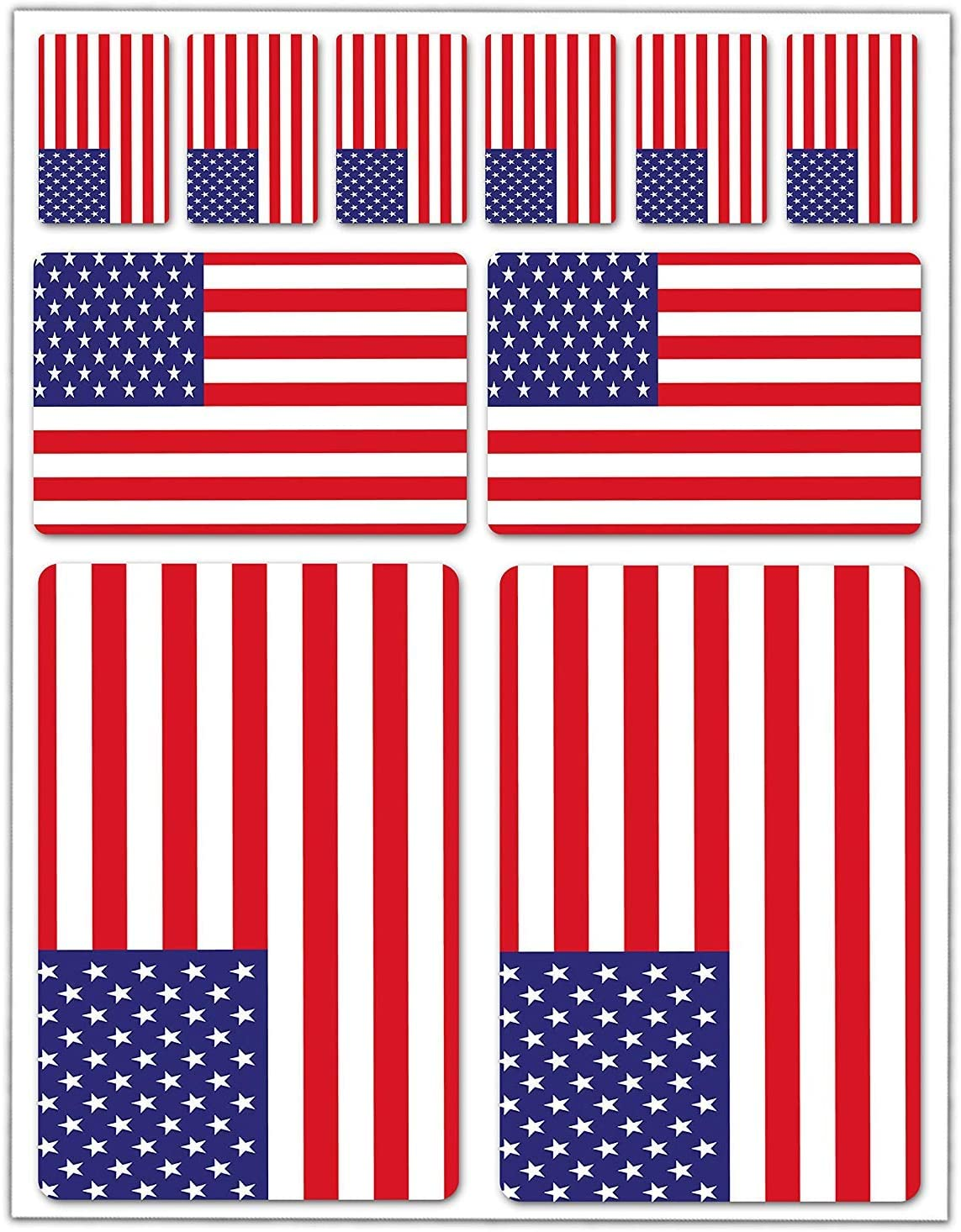 10 x Vinyl Stickers Set Decals USA American National Flag Car Motorcycle Helmet D 39