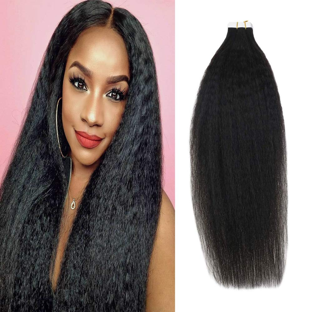 LaaVoo 18 inch Kinky Straight Tape on Human Hair Weave For Black Women Brazilian Virgin Hair Top Grade Tape in Natural Black Extensions 20 Pieces 50 Gram Per Package by LaaVoo