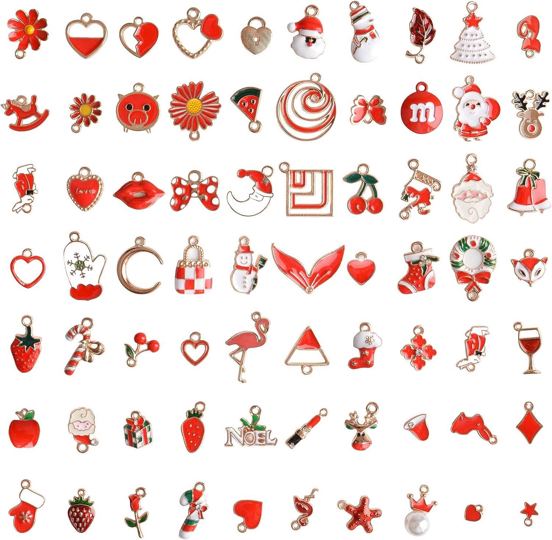 EBANKU 73 St/ücke Emaille Charme Anh/änger Gemischte Stile /Überzogene zum Armband Halskette Ohrring Charms Schmuck Handwerk Bilden DIY Schmuckanh/änger Weihnachten Dekoration Schmuck Set