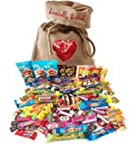 The Best of British Retro Candy Assortment 100 pcs / 2.2 pound in Basically British Burlap Bag LIMITED EDITION Sequin Heart Design with a gift tag
