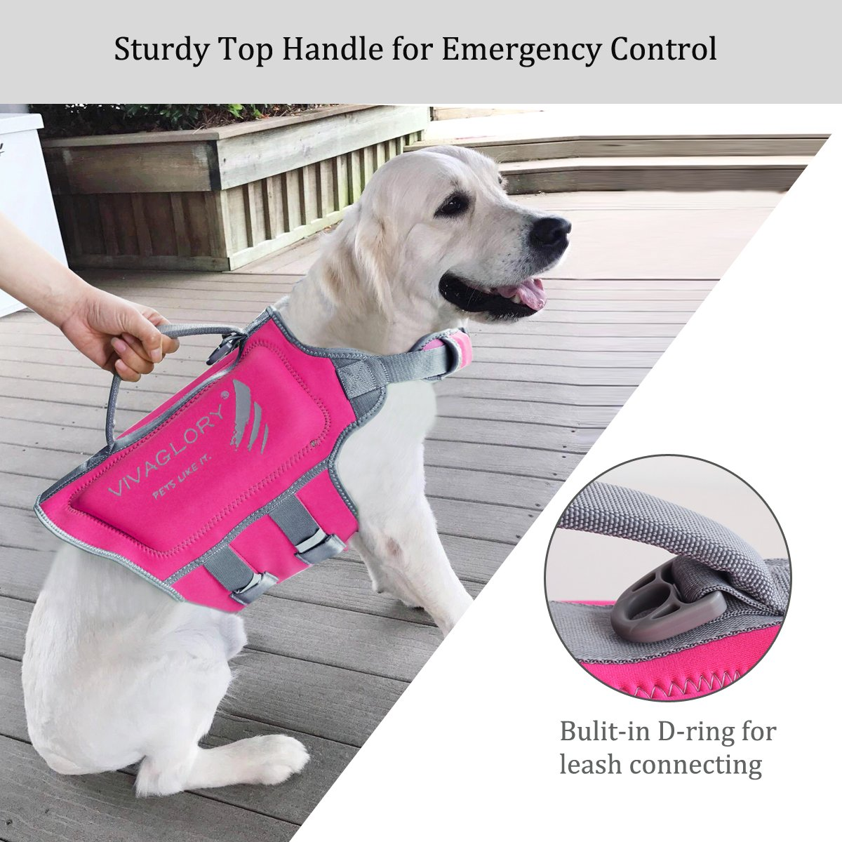 Vivaglory Pet Life Vest, Skin-Friendly Neoprene Dog Safety Vest with Superior Buoyancy and Rescue Handle, Reflective & Adjustable, Pink, Medium by Vivaglory (Image #5)