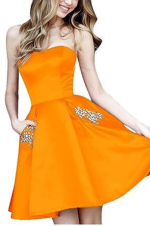 TBdress Womens Short Backless Homecoming Dress Satin Prom Dresses with Pocket Orange-18