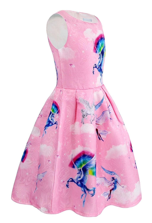AmzBarley Unicorno Festa Vestito da Principessa Stellato Senza Maniche Abiti per Le Ragazze Bambina Partito Vestire Costume Compleanno Carnevale Halloween