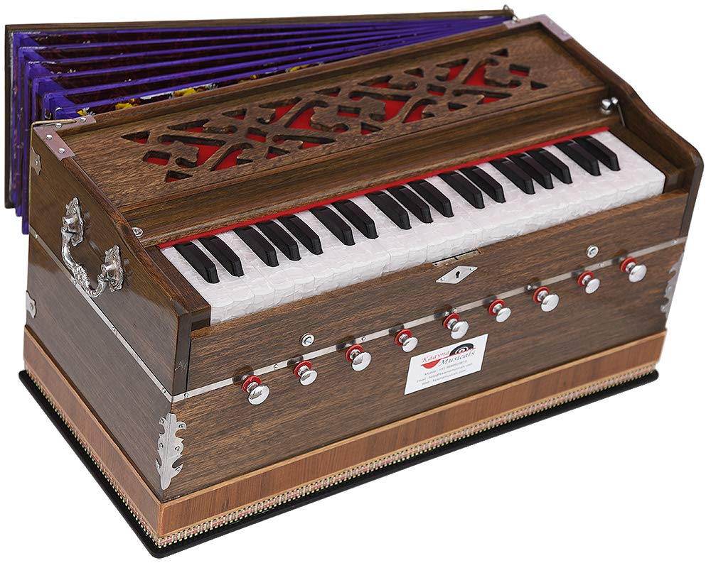 Harmonium Extra Height By Kaayna Musicals -9 Stops-5 Main & 4 Drone, 3½ Octave, Coupler, Rat Colour, Gig Bag, Bass/Male Reed- 440Hz, For Yoga, Bhajan, Kirtan, Shruti, Mantra, Chant, Meditation. etc. by Kaayna Musicals