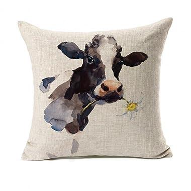 Farmhouse Decoration Cow Throw Pillow Case Cushion Cover Cotton Linen 18  x 18