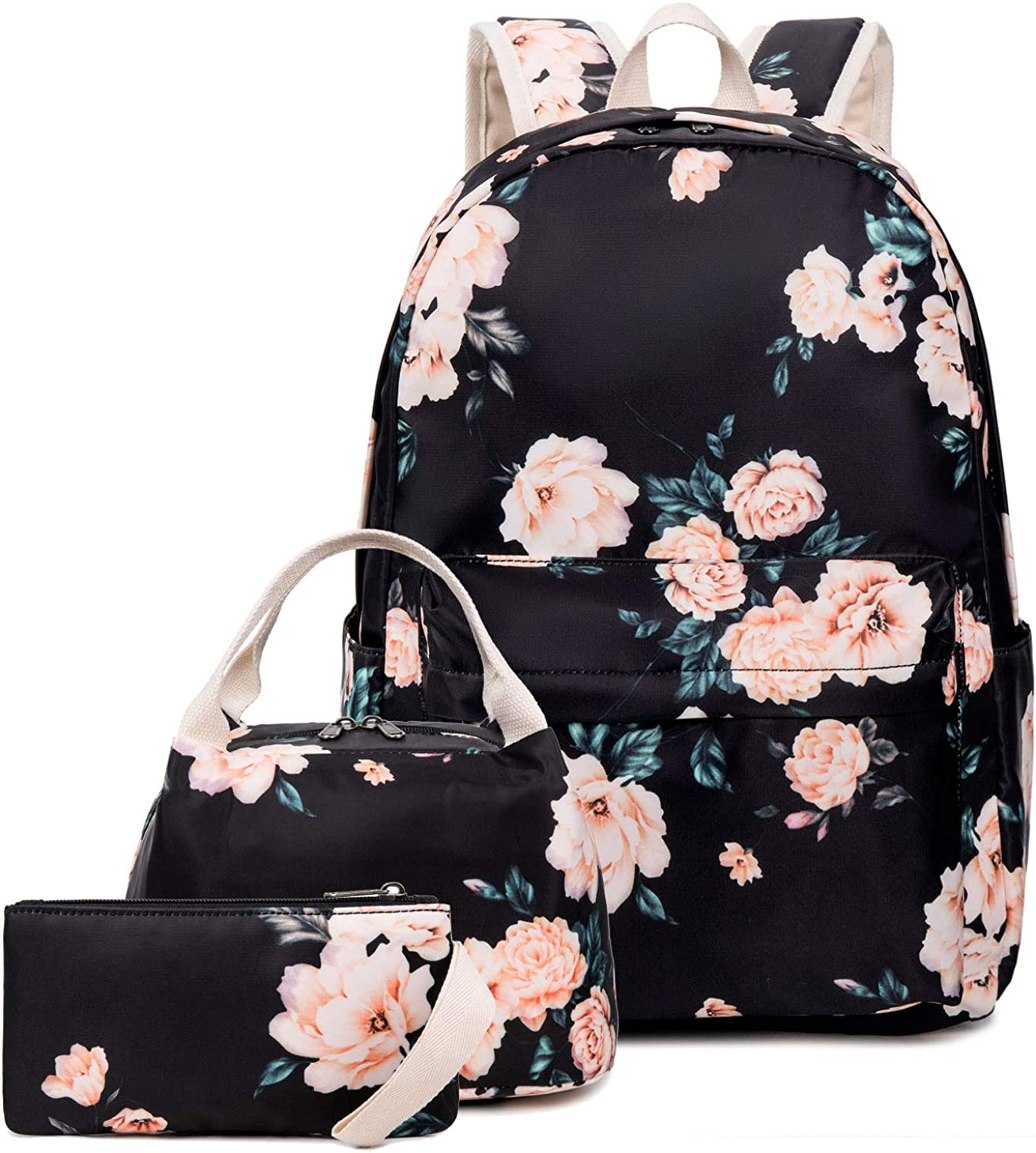 Goodking Floral Canvas Backpack for Women Teen Girls School Rucksack College Bookbag Lady Travel Backpack 14Inch Laptop Bag