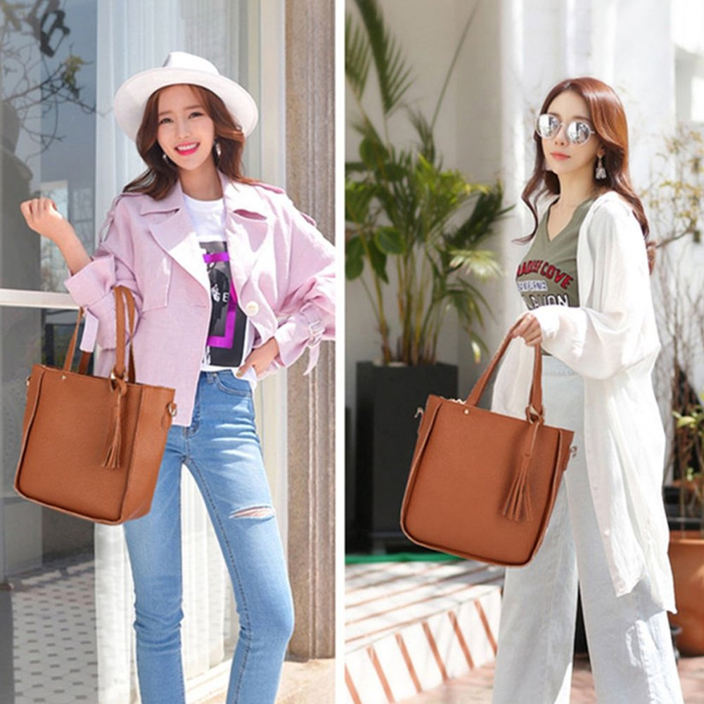 Lightclub 4Pcs//Set Women Faux Leather Shoulder Bag Tote Purse Messenger Clutch