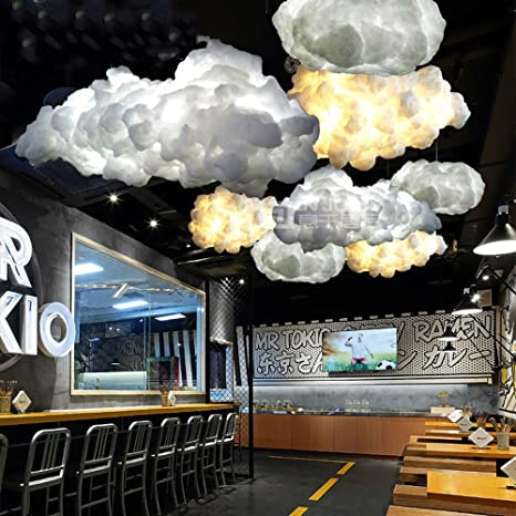 IJ INJUICYLighting Loft Modern E27 Led Cloud Pendant Lamp Shades Contemporary Cotton Ceiling Light Fixtures Xmas