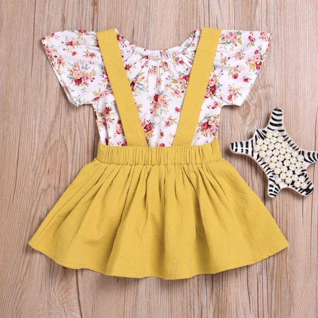 Winsummer 2Pcs Infant Baby Girls Floral Print Rompers Jumpsuit Short Tops Strap Tutu Skirt Outfits Set