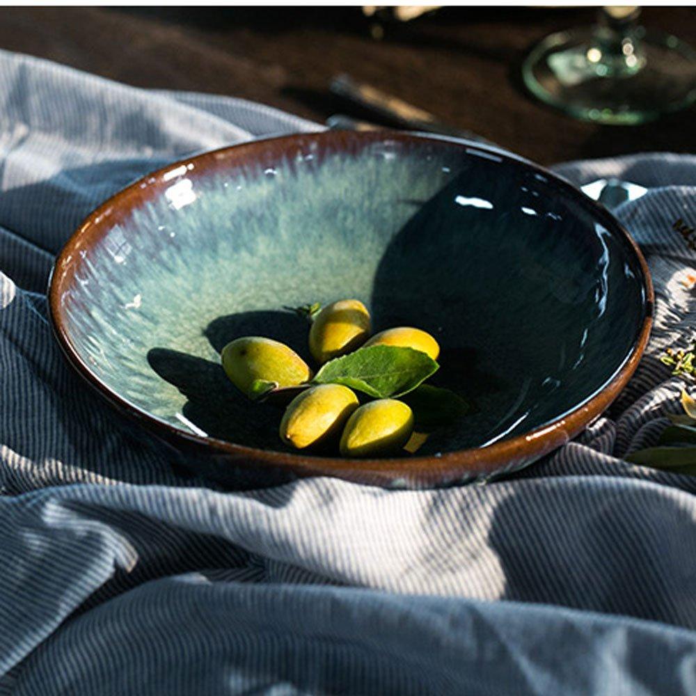 Ceramic Large Fruit Salad Pasta Bowl Creative Soup Noodles Dish Deep Plates Oven Microwave Safe Retro Mixing Serving Cooking Bowls Set Blue (Size : 8.5 inches) AINUO Bowl