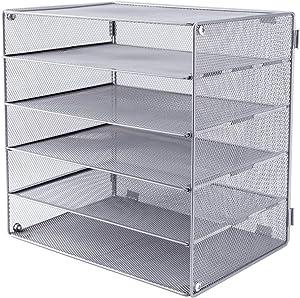 EASEPRES 5 Slot Desk Organizer Tray, Mesh File Paper Letter Tray Desktop Paper Sorter Literature Organizer Rack for Home, Office, or School, Silver