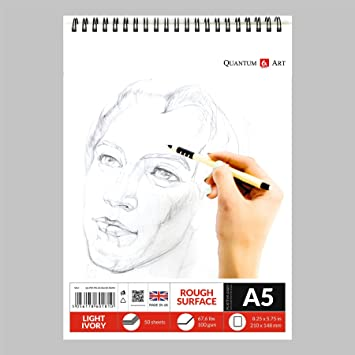 Sketch Pad Black Drawing Artist Paper GUMMED Book 30 sheets 60 pages
