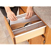 Aagna Set of 2 Plastic Expandable Drawer Dividers for Clothes, Office Supplies(Random Colour)