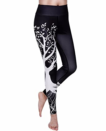 812555b2e0b40 Women's Tree Printing Yoga Leggings Gym Fitness Running Pilates Tights  Skinny Pants 3D Printing Black,