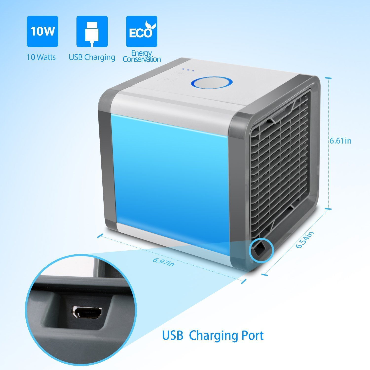 Dingeter Portable Air Conditioner 4 in 1 Mini USB Personal Space Cooler Humidifier Purifier Desktop Cooling Fan