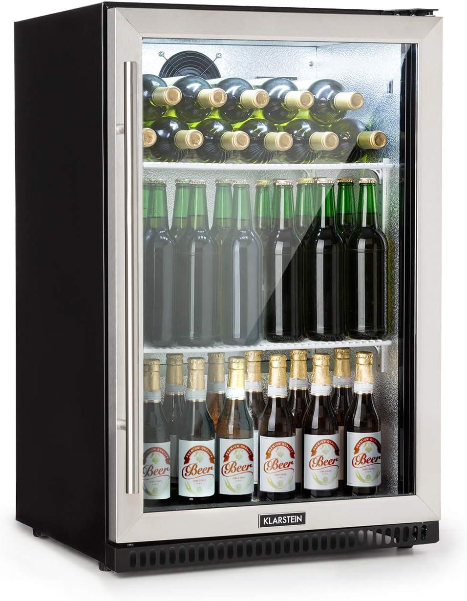 Klarstein Beersafe Pro nevera - Nevera para bebidas, 133 litros, 2 baldas metálicas, Puerta automática, Temperatura de 0 a 22 °C, Eficiencia energética A+, Puerta acristalada, Acero inoxidable