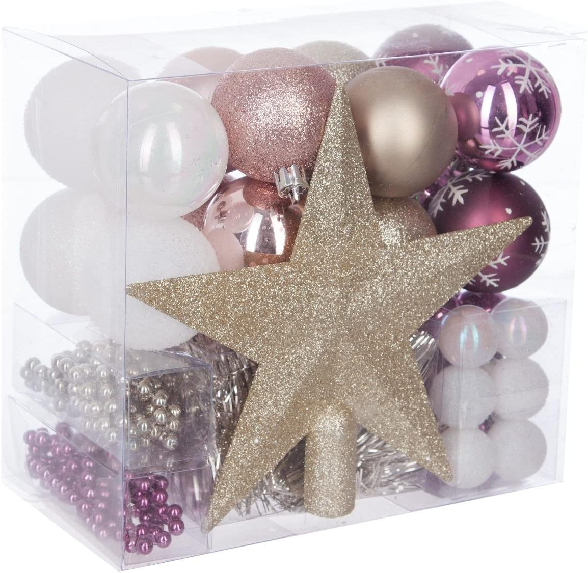 Christmas-Decorations Lot de 16 boules de No/ël en verre Rose fuchsia 35 mm
