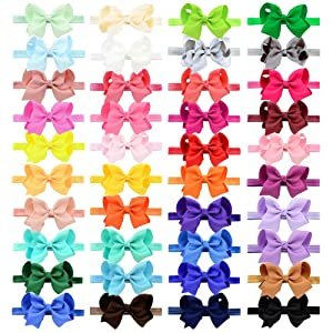 40pcs Baby Girls Grosgrain Ribbon Hair Bows Headbands 4.5 Elastic Hair Band Hair Accessories for Infants Newborn (Color: Multicoloured, Tamaño: One Size)