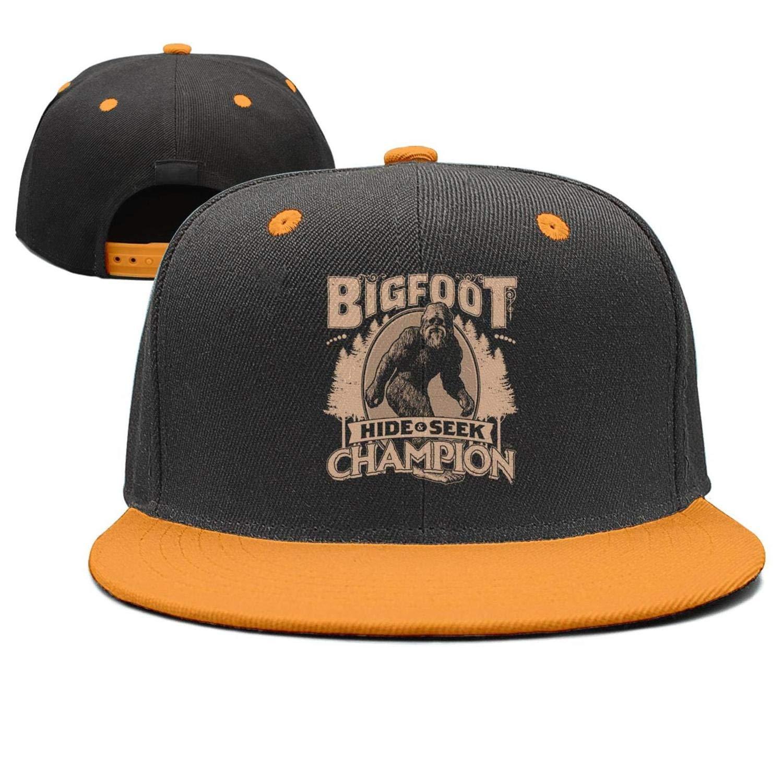 Flat Bill Adjustable Hat Snap Snapback Cap Men /& Women Bigfoot-hide-and-seek-champion3
