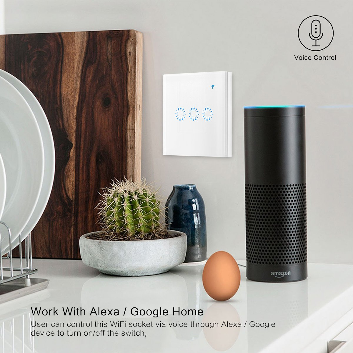 no Requiere Hub Frontoppy WiFi Touch Wall Interruptor 1 Gang Timing Need Neutral Line Compatible con Alexa y trabajo con Google Home ifttt Funci/ón de control de App Smart WiFi Interruptor de luz