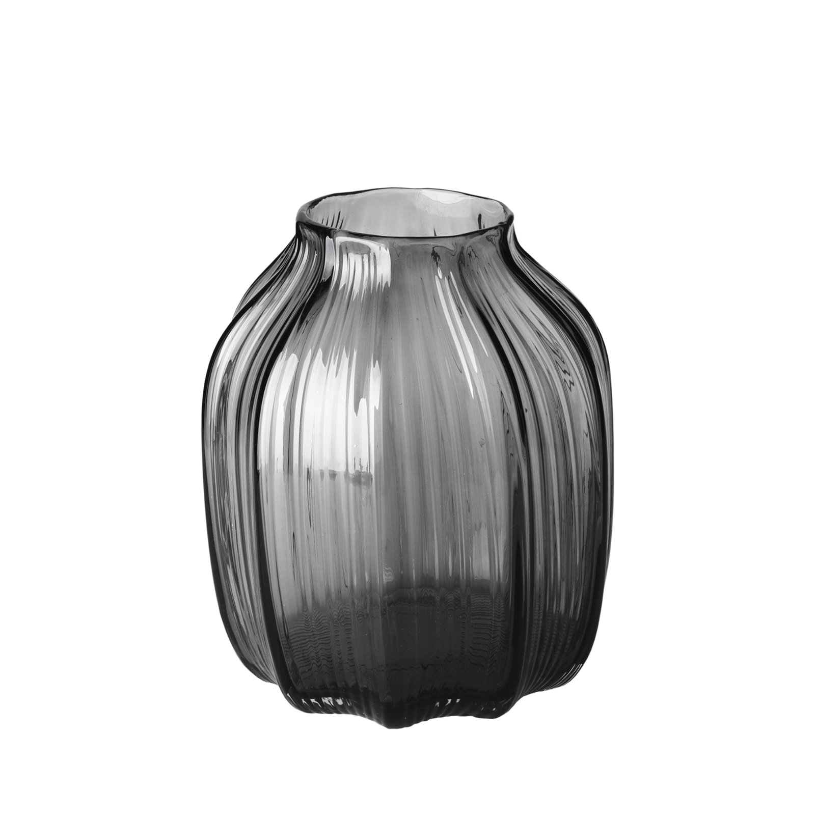CASAMOTION Vases Hand Blown Solid Color Home Decor Centerpieces Gift Art Ribbed Glass Vase, Smoke, 8''