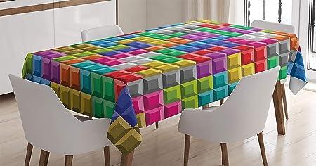 Mantel de videojuegos, Bloques de ladrillos de computadora retro para juegos de colores, Rompecabezas de imágenes, Juego digital de 90 , Cubierta de mesa rectangular para decoración de cocina de come: Amazon.es: